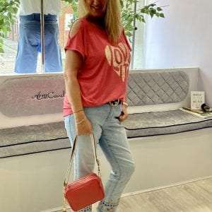 Cherry Red Tee with strawberry (Biscuit Strap